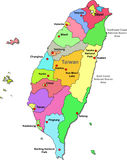 Taiwan map. Color Taiwan map with regions on a white background