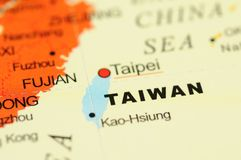Taiwan on map Royalty Free Stock Photos