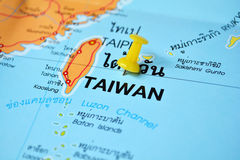 Taiwan map. Macro shot of taiwan map with push pin Royalty Free Stock Photos