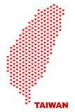 Taiwan Map - Mosaic of Lovely Hearts stock illustration