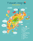 Taiwan Map with Sightseeing Taipei Chiang Kai-Shek Stock Image