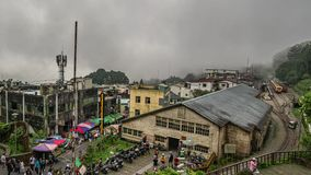 Taiwan - May 15, 2019: Timelapse of Fenqihu Historic Downtown with Railway and Tourists in Foggy Day. Shot with a Sony a6300 fps25 4k stock video footage
