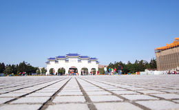 Taiwan memorial hall Chaing Kai-Shek. National landmark visited by tourists. plaza view of entrance stock photography