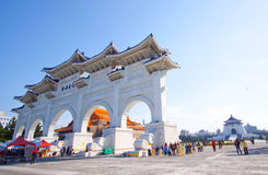 Taiwan memorial hall Chaing Kai-Shek. National landmark visited by tourists. A view of the entrance gates stock photo