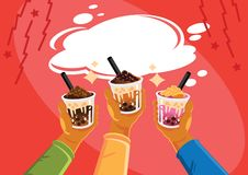 Taiwan milk tea celebrate royalty free illustration