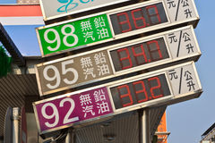 Taiwan oil prices signboard Stock Image
