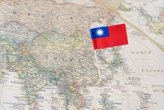 Taiwan map and flag pin. Taiwan paper flag pin on a map. Officially the Republic of China ROC, it is a state in East Asia stock photos