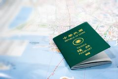 Taiwan passport on a map. It is Taiwan passport on a map royalty free stock photography