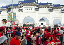 Taiwan people against corruption and president. The protesters, most wearing red to express their anger, shouted slogans and gave the thumbs-down sign as they Stock Photography