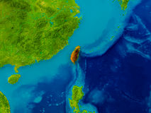 Taiwan on physical map Royalty Free Stock Image