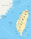 Taiwan, a República da China, mapa político ilustração do vetor