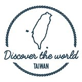 Taiwan, Republic Of China Map Outline. Vintage Discover the World Rubber Stamp with Taiwan, Republic Of China Map. Hipster Style Nautical Rubber Stamp, with Royalty Free Stock Photos
