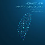 Taiwan, Republic Of China network map. Abstract polygonal map design. Internet connections vector illustration Royalty Free Stock Photo