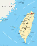 Taiwan, Republic of China, Political Map Royalty Free Stock Image