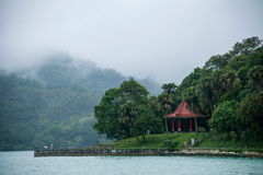 Taiwan S Sun Moon Lake In Nantou County, Lake View Pavilion, Chiang Kai-shek Reportedly Often In This Front View Of The Lake Royalty Free Stock Image