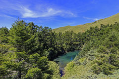 The Taiwan shape lake at the famous Hehuan Mountain of Taiwan Stock Images