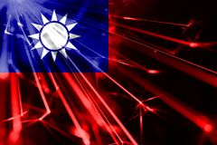 Taiwan shining fireworks sparkling flag. New Year 2019 and Christmas futuristic shiny party concept flag. Taiwan shining fireworks sparkling flag. New Year 2019 stock images