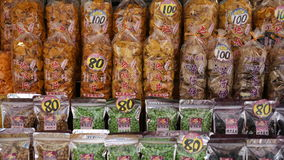 Taiwan snacks in Lukang. Taiwan snacks show, including earth-nut Royalty Free Stock Photo