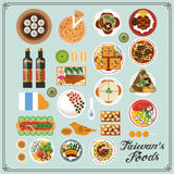 Taiwan snacks. Top view of delicious Taiwan snacks collection royalty free illustration