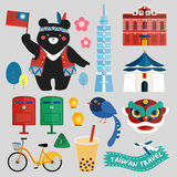 Taiwan symbols collection. With chinese words The Redhouse written on the red building Stock Image