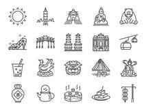 Taiwan symbolsuppsättning Inklusive destillerade symbolerna som Taipei, det kinesiska stenlejonet, bubblate, starksprit, te, den  vektor illustrationer