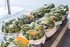 Taiwan,Tainan- May 28:several baskets of papaya in a fruit market Royalty Free Stock Image