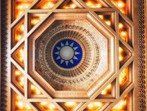 Taiwan, Taipei, Dome Ceiling Chiang Kai Shek memorial also called the Democracy Hall royalty free stock photo