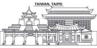 Taiwan Taipei linje horisontvektorillustration Taiwan Taipei siktar linjär cityscape med berömda gränsmärken, stad stock illustrationer