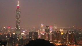 Taiwan : Taipei at Night. Night View of Taipei Skyline stock video footage