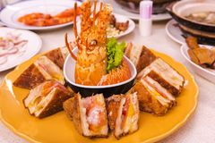 Taiwan Taipei, Seafood Restaurant, Lobster Sandwiches, Special Menu, Lobster & Bread Crisp, Crispy Crispy Sandwich,. Taiwan`s famous seafood restaurant, lobster Royalty Free Stock Image