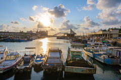 Taiwan taoyuan yung-an Fishing port by the sunset. Stock Image