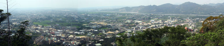 Taiwan town panoramic. Panoramic view of town in centre of island of Taiwan stock photos