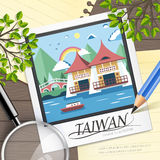 Taiwan travel attractions. Famous Taiwan travel attractions in flat design Royalty Free Stock Photo