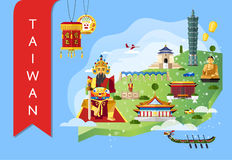 Taiwan travel concept with famous attractions Royalty Free Stock Photo