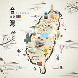 Taiwan travel map. Taiwan famous attractions travel map in ink style royalty free illustration