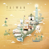 Taiwan travel map stock illustration
