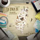 Taiwan travel map. Top view of Taiwan travel map with stationeries Stock Photos