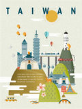 Taiwan travel poster design. Lovely Taiwan travel poster design in flat style Stock Photos