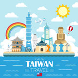 Taiwan travel poster design. Lovely Taiwan travel poster design in flat style Royalty Free Stock Image