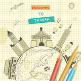 Taiwan travel poster. Retro Taiwan travel poster design with attractions on notepaper Stock Image