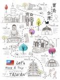 Taiwan travel poster Royalty Free Stock Image