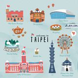Lovely Taiwan travel symbols. Taiwan travel symbols collection, hand drawn style famous attractions and delicious snacks in Taipei Stock Photos
