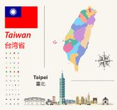 Taiwan vector map and flag. Abstract city skyline of Taipei. Navigation and location icons royalty free illustration