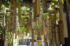 Taiwan Wishing Bamboo. Rows of wishing bamboo found in taiwan royalty free stock photography