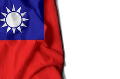 Taiwan wrinkled flag, space for text. Flag of taiwan, wrinkled flag with space for text royalty free stock photography