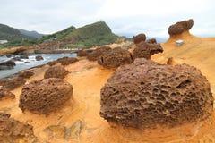 Taiwan Yehliu Geopark. Taiwan landscape - bizarre rock formations at Yehliu Geopark near Taipei stock image