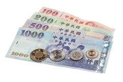 Taiwanese Currency. An assortment of Taiwanese bills and coins Stock Photography