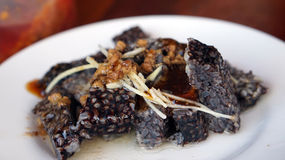 Taiwanese food, goose blood sticky rice sausage with ginger dish Royalty Free Stock Photo