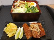 Taiwanese and Japanese-style mixed lunch stock images