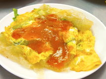 Taiwanese oyster omelet Royalty Free Stock Photography